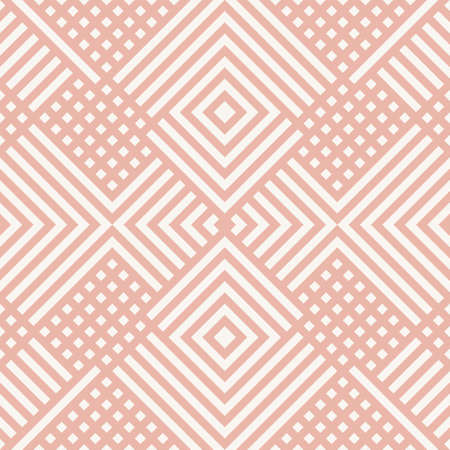 Vector geometric lines seamless pattern. Modern linear texture with squares, rhombuses, stripes,   zigzag. Simple abstract geometry. Cute pink and white graphic background. Repeatable design
