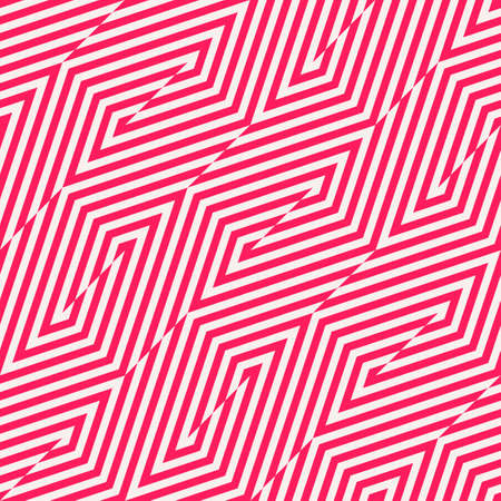 Vector geometric lines seamless pattern. Trendy colorful texture with diagonal stripes, broken lines, zigzag. Simple abstract geometry. Modern striped red and white background. Funky design