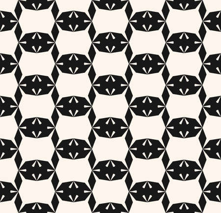 Vector geometric seamless pattern. Simple abstract monochrome texture with diamond shapes, rhombuses, grid, lattice, net. Black and white repeat background. Modern geometry. Design for decor, prints