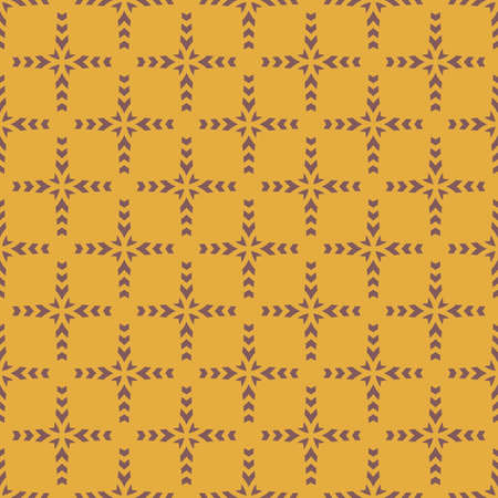 Vintage geometric seamless pattern. Vector abstract texture with cross shapes, grid. Yellow and brown color. Ethnic folk style ornament. Simple retro background. Repeat design for decor, wallpapers Ilustração