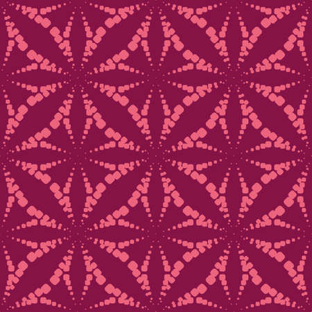 Vector geometric dotted seamless pattern. Simple minimal texture with halftone dots, crosses, floral silhouettes, stars, grid. Abstract background in burgundy and pink color. Stylish repeat design Ilustração