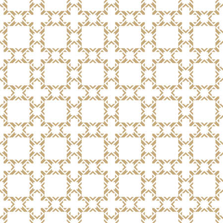 Golden abstract geometric seamless pattern in oriental style. Vector gold and white background. Elegant Asian ornament. Luxury graphic texture with square grid, lattice, net, crosses. Repeat design