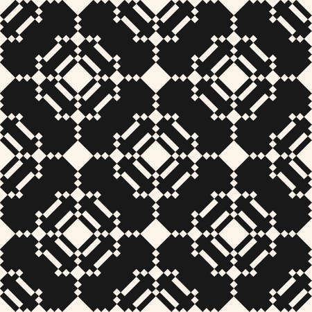 Vector geometric traditional folk ornament. Ethnic seamless pattern. Ornamental background with squares, diamonds, snowflakes, floral shapes, grid. Black and white texture of embroidery, knitting Ilustração