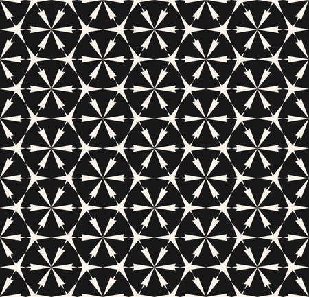 Vector abstract geometric background. Floral grid seamless pattern. Elegant black and white ornament texture with flower silhouettes, lattice, mesh, triangular shapes. Repeat design for decor, prints Ilustração