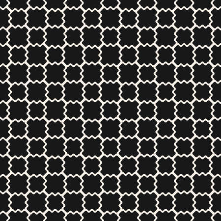 Mesh seamless pattern. Vector texture of wavy grid, weaving, smooth lattice, net. Subtle monochrome geometric background. Simple black and white ornament. Dark minimal repeat design for decor, print