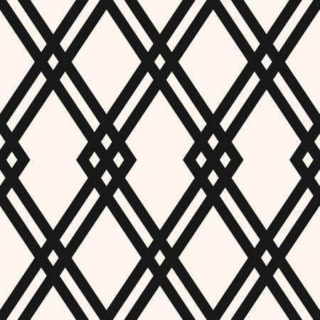 Abstract geometric seamless pattern. Black and white vector background. Simple ornament with diamond grid, rhombuses, crossing lines. Elegant monochrome graphic texture. Repeat design for decor, print
