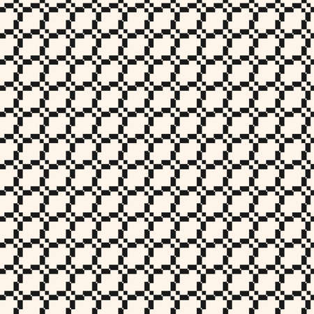 Vector seamless pattern with grid, mesh, net, lattice, weave. Jacquard textile texture. Black and white geometric ornament. Simple abstract monochrome background. Repeated design for print, decoration