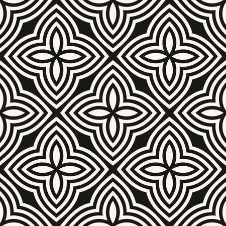 Vector floral seamless pattern. Abstract black and white geometric ornament with big flowers in oriental style. Simple elegant mosaic background. Endless monochrome ornamental texture. Repeat design