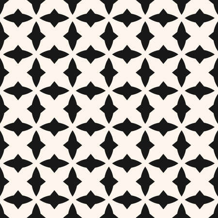 Black and white geometric seamless pattern with curved shapes, diamonds, grid, repeat tiles. Elegant gothic style texture. Simple monochrome background. Repeated design for decoration, print, textile