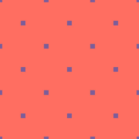 Simple minimalist geometric seamless pattern with small squares, dots, pixels. Vector abstract background in bright colors, purple and coral. Subtle minimal texture. Repeat design for decor, wrapping