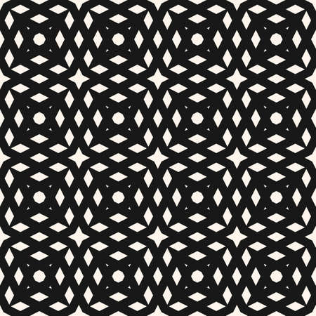 Simple vector geometric seamless pattern with crossing diagonal lines, grid, net, mesh, lattice. Abstract black and white texture. Minimal monochrome background. Repeat design for fabric, print, cloth Ilustração
