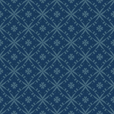 Vector geometric floral pattern. Abstract seamless texture with small flower shapes, diamonds, stars, grid, net. Elegant dark blue ornament background. Repeated design for decor, wallpaper, fabric
