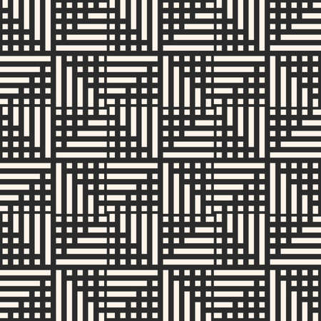 Simple vector geometric seamless pattern with squares and lines, grid, lattice, repeat tiles. Abstract black and white geometrical texture. Modern monochrome background. Repeat design for decor, print