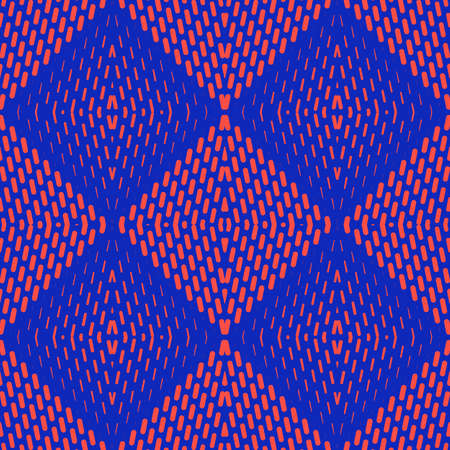 Vector geometric halftone seamless pattern with small lines, stripes in diamond shape. Sport style background. Vibrant colors, neon blue and red. Abstract repeated texture. Retro 1990s fashion design Ilustração