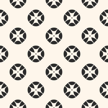 Vintage seamless pattern with stylized floral geometric shapes. Abstract monochrome geometrical background. Simple retro style texture. Repeat tiles. Design element for decor, fabric, furniture, cloth