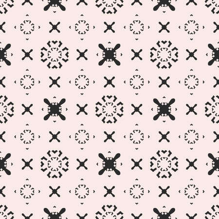 Funky seamless pattern, vector minimalist geometric texture. Original hipster background with simple minimal shapes, crosses, arrows, circles. Monochrome repeat design for prints, decor, textile, web