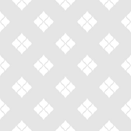 Subtle geometric seamless pattern in oriental style. Abstract minimalist background. Simple graphic ornament. White and light gray texture with diamond shapes, rhombuses, repeat tiles. Delicate design