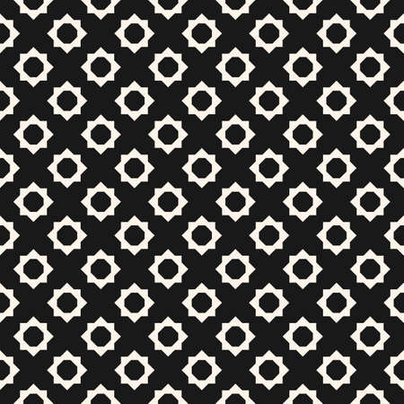 Abstract geometric floral seamless pattern. Vector black and white background. Simple geometric ornament. Monochrome graphic texture with small flower shapes, diamonds, octagons. Dark repeat design