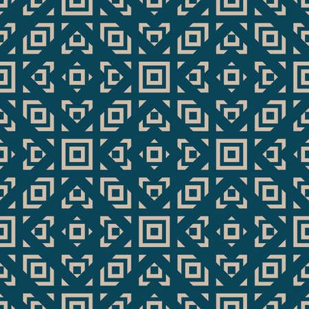 Vector geometric ornament in ethnic style. Abstract seamless pattern with squares, diamonds, triangles, grid, net, repeat tiles. Teal and beige color. Simple vintage background texture. Repeat design