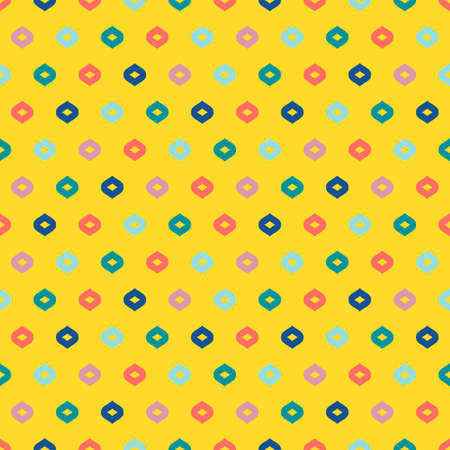 Vector colorful geometric seamless pattern. Simple abstract minimalist texture with small shapes, dots, drops. Minimal funky background. Yellow, green, blue, pink and coral colors. Summer style design