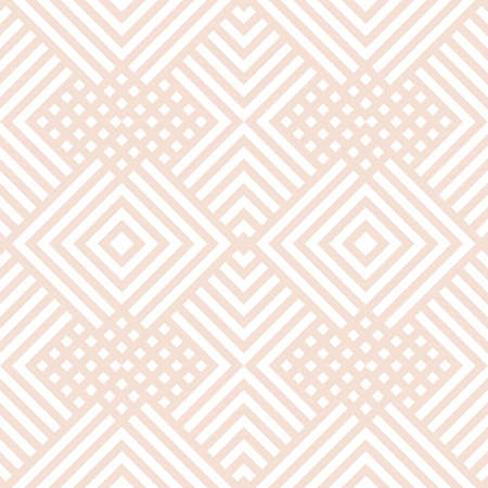 Subtle vector geometric seamless pattern with diagonal lines, squares, rectangles, rhombuses, tiles, grid. Abstract beige and white graphic texture. Simple minimal background. Delicate design