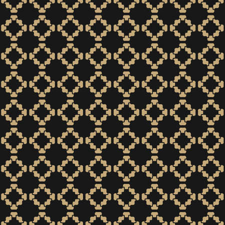 Vector floral geometric seamless pattern. Golden texture. Subtle vintage ornament with flower silhouettes, curved shapes, grid. Elegant abstract minimal black and gold background. Luxury repeat design
