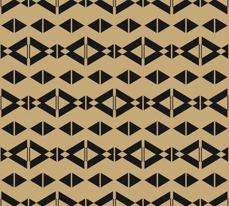 Golden vector geometric seamless pattern. Simple minimalist ornament with diamonds, rhombuses, triangles, lines. Abstract black and gold texture. Elegant background. Ethnic motif. Repeatable design