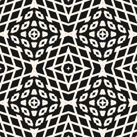 Vector geometric seamless pattern. Abstract black and white ornament with simple geometrical shapes, diamonds, stars, rhombuses, grid, net, grill. Stylish dark background. Modern repeat geo design Ilustração