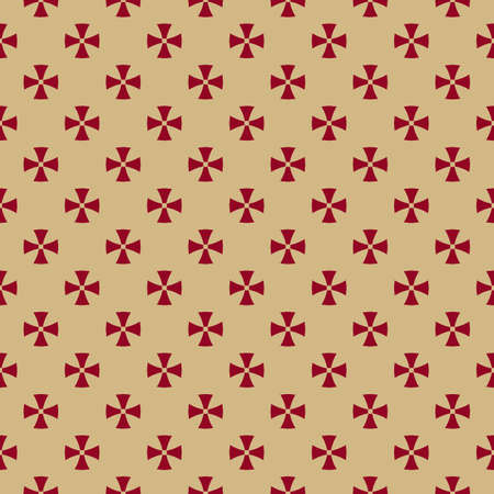 Simple minimal seamless pattern. Golden vector abstract geometric floral background. Luxury ornament texture with small simple flowers, crosses. Red and gold. Repeat design for decor, wallpaper, wrap Ilustração