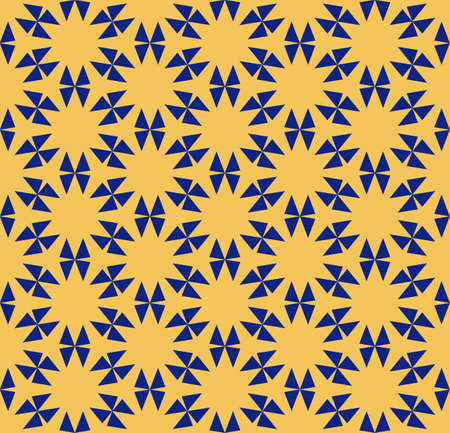 Vector geometric floral pattern. Ornamental seamless texture in traditional ethnic style. Abstract ornament with triangles, flower shapes, grid. Elegant navy blue and yellow repeatable background