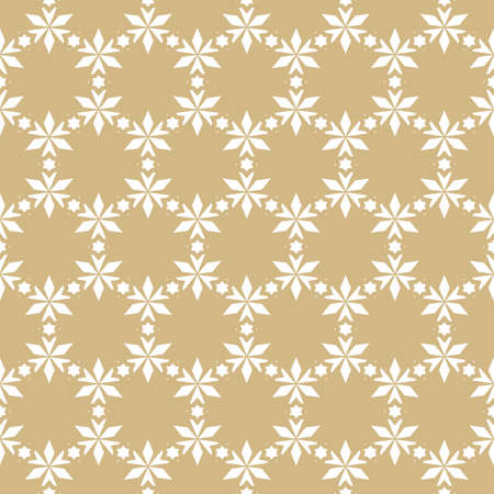 Vector golden floral seamless pattern. Elegant Christmas background. Luxury geometric texture with small flowers, stars, leaves, triangles. Winter holiday ornament. Gold festive design for decor