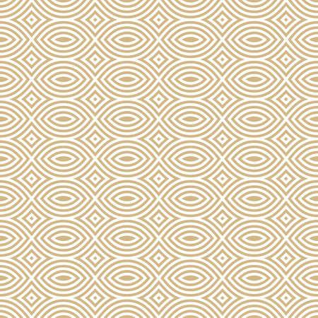 Golden mesh seamless pattern. Subtle vector abstract geometric ornament texture with thin curved lines, delicate mesh, net, grid, lattice, lace. White and gold luxury background. Elegant repeat design