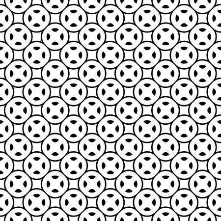 Vector monochrome seamless texture, simple geometric pattern with rounded figures, circles, squares, crosses, wheels. Black & white design element for prints, decoration, textile, fabric, cover, web