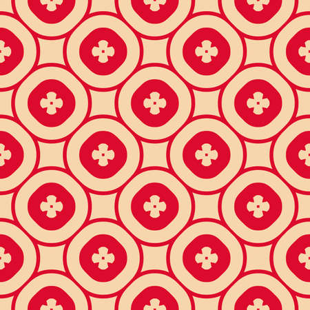Vector abstract ornamental floral seamless pattern. Vintage geometric background with small flower shapes, circular grid, lattice, repeat tiles. Texture in red and tan colors. Retro style design