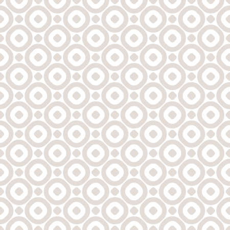 Vector minimalist seamless pattern with simple geometric shapes, hollow circles, dots. Subtle abstract beige and white background. Delicate repeat texture. Design for decoration, fabric, cloth, web Vectores