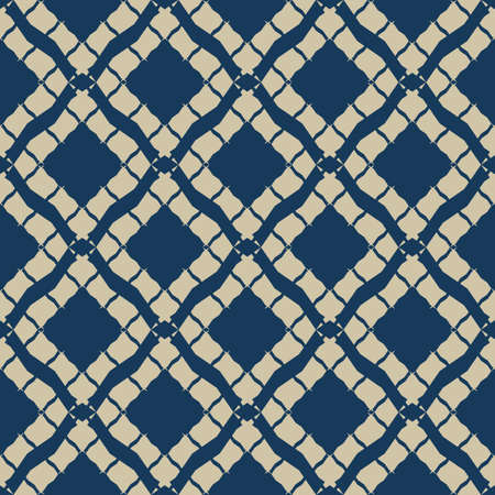 Golden grid geometric seamless pattern in oriental style. Luxury vector abstract background. Simple graphic ornament. Elegant blue and gold texture with diamonds, rhombuses, lattice, net, repeat tiles