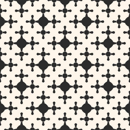 Vector seamless pattern, stylish geometric background with rounded shapes, smooth crosses. Abstract monochrome texture, elegant art deco style. Square design element for prints, decor, fabric, textile