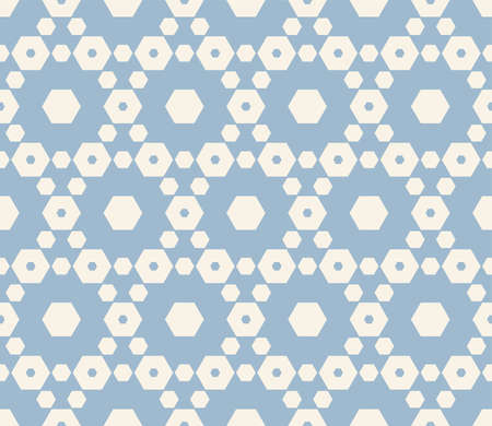 White and blue vector geometric seamless pattern with hexagonal lattice. Subtle minimal hexagons texture, ornamental grid, mesh, net. Abstract repeatable background. Winter season decorative design Vectores