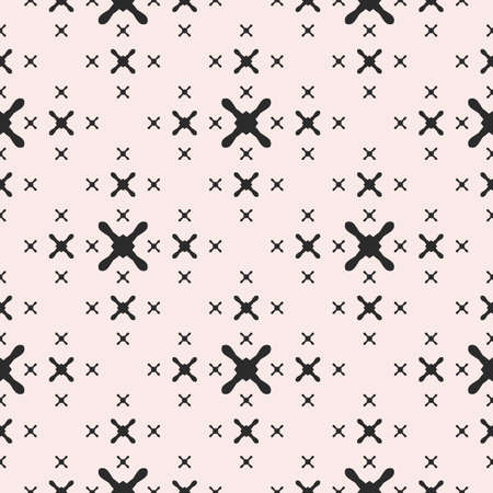 Vector minimalist seamless pattern with black different sized crosses on white background. Abstract geometric texture. Monochrome design element for prints, decor, furniture, textile, fabric, package Vectores