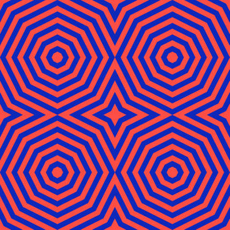 Vector colorful geometric seamless pattern with concentric shapes, stripes, lines, octagons. Trendy bright colors, red and electric blue. Creative psychedelic design. Retro 80-90's style background