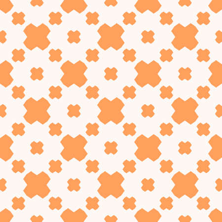 Vector minimalist geometric floral seamless pattern. Abstract texture with cross shapes. Stylish minimal background in orange and white colors. Hipster fashion design. Repeatable ornament texture