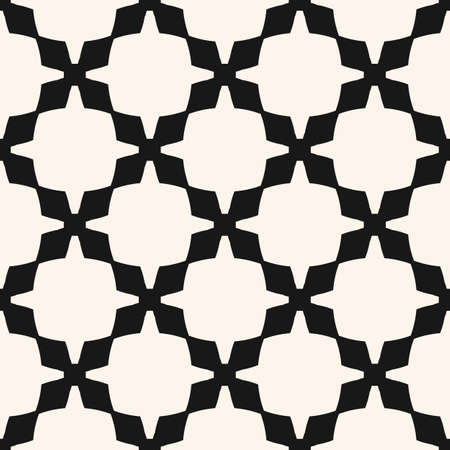 Vector geometric seamless pattern. Abstract black and white texture with grid, lattice, net, crosses, flower silhouettes. Simple monochrome ornamental background. Repeated design for decor, furniture Vectores