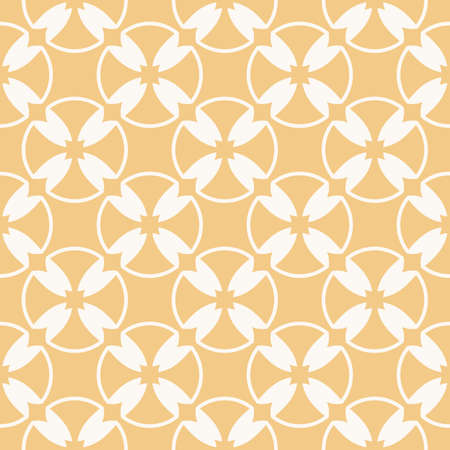 Vector geometric seamless pattern. Simple ornament with crosses, circles, grid, mesh, lattice, rounded shapes. Abstract white and yellow repeat background. Natural organic style texture design