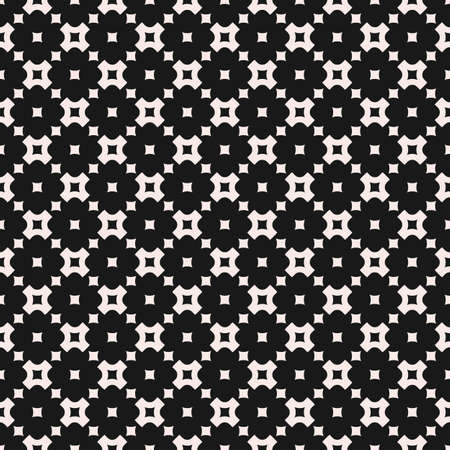 Vector geometric seamless pattern, monochrome texture with smooth perforated crosses and squares, staggered grid, repeat tiles. Simple abstract background. Dark design for decor, covers, package, web