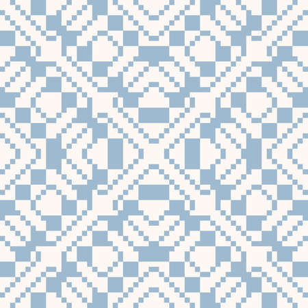 Vector geometric traditional folk ornament. Ethnic seamless pattern. Ornamental repeat background with small squares, crosses, rhombuses. Texture of embroidery, knitting. Light blue and white colors Vectores