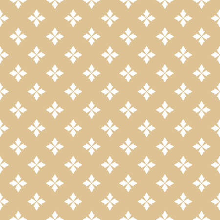 Golden seamless pattern. Gold and white vector floral texture. Abstract geometric background with small flowers, petals. Luxury repeat ornament. Design for print, fabric, furniture, cloth, home decor