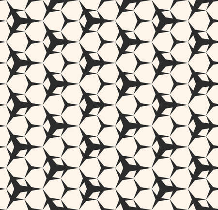 Vector monochrome texture, seamless pattern with simple sharped geometric figures, triangular shapes, hexagonal geometrical lattice. Repeat abstract background. Design for prints, textile, furniture