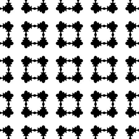 Monochrome seamless pattern, vector geometric texture, black & white abstract repeat background with rounded geometrical shapes, flat floral figures. Design element for tileable print, furniture, web Vectores