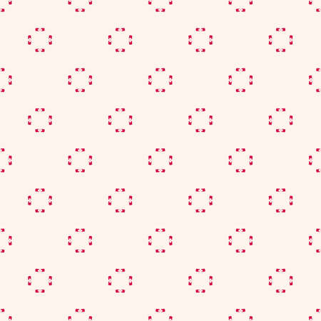 Simple minimalist geometric texture. Seamless pattern with small elements, tiny flower shapes. Vector abstract background in red and beige colors. Subtle ornate design for decor, wallpaper, gift paper Vectores