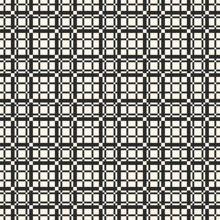Vector lattice seamless pattern. Abstract geometric texture with vertical and horizontal interlacing thin lines. Square grid, repeat tiles. Pixel art checkered background. Design for decor, textile Vectores